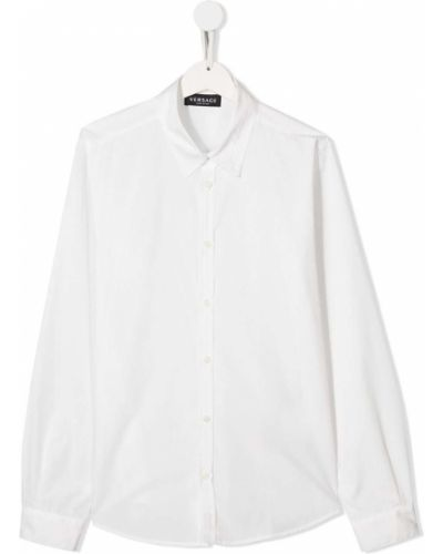 Biała klasyczna koszula bawełniana z długimi rękawami Young Versace