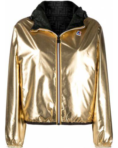 Желтая короткая куртка с капюшоном на молнии Fendi
