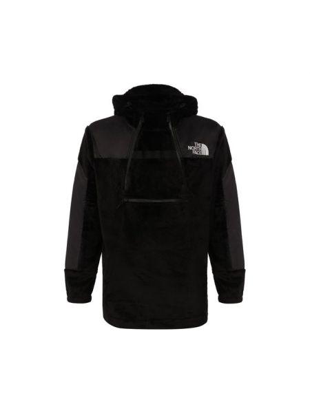 Черная куртка на молнии матовая со вставками The North Face