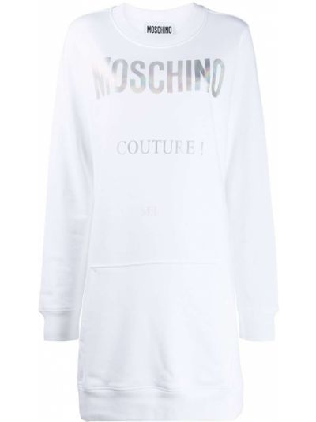 Свободное трикотажное белое платье макси Moschino