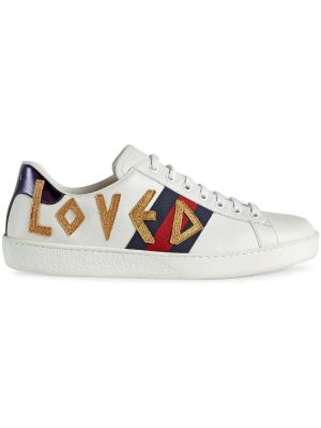 Skórzany biały skórzane sneakersy zabytkowe z haftem Gucci
