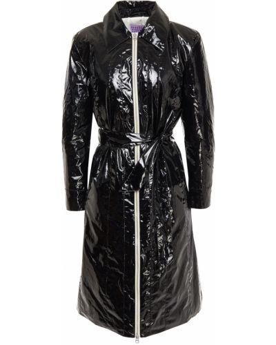 Czarny płaszcz pikowany bawełniany Alexachung