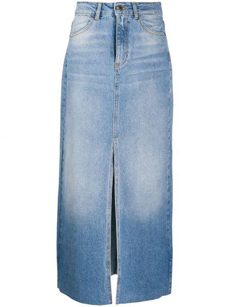 Кожаная юбка джинсовая на пуговицах Pinko
