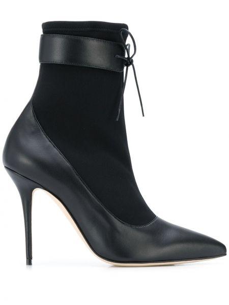 Черные кожаные сапоги на шнуровке Manolo Blahnik