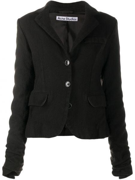Wełniany długa kurtka z kieszeniami z długimi rękawami z klapami Acne Studios