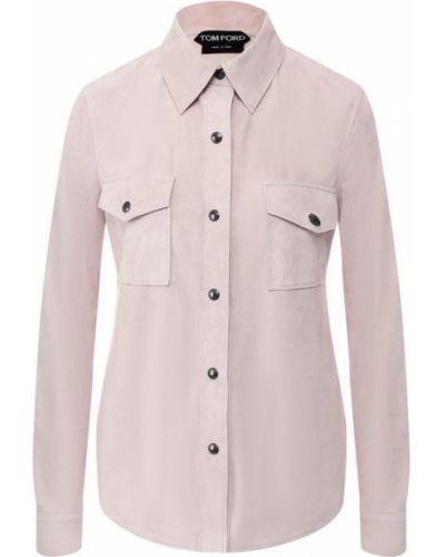Классическая рубашка фиолетовый кожаная Tom Ford