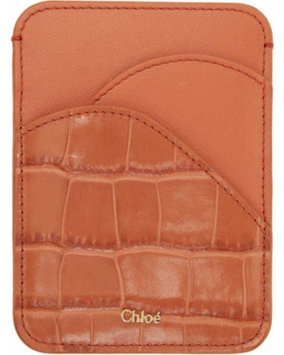 Текстильная оранжевая ключница с тиснением Chloé
