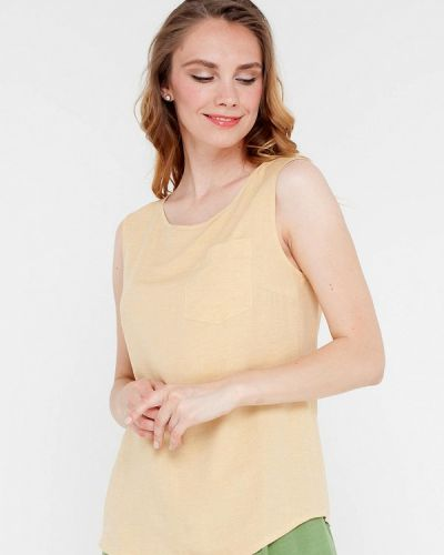Желтая блузка без рукавов без рукавов Gregory