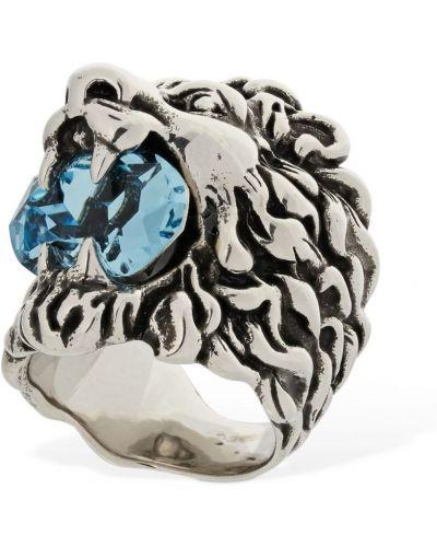 Niebieski pierścionek srebrny Gucci