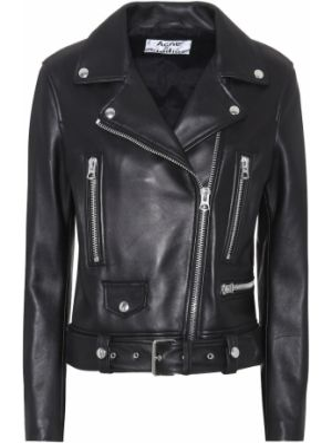Черная кожаная куртка из натуральной кожи Acne Studios