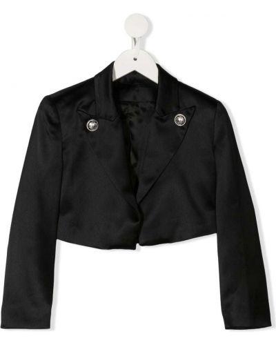 Прямая черная длинная куртка на кнопках Balmain Kids