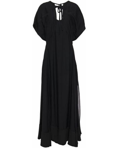 Шелковое черное платье макси с вырезом 3.1 Phillip Lim