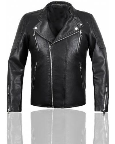 Кожаная куртка с воротником - черная Vsp