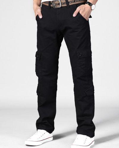 Прямые черные брюки карго с карманами Zaful