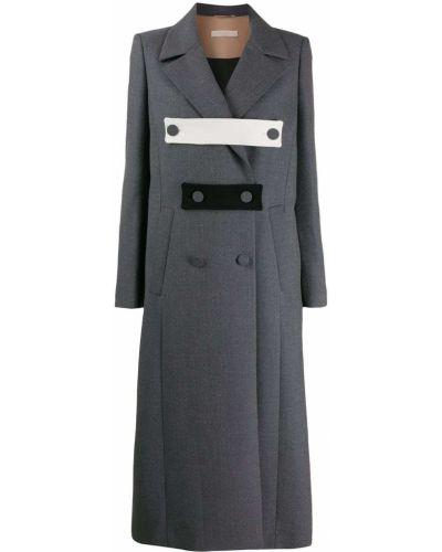 Серое длинное пальто на пуговицах Ssheena