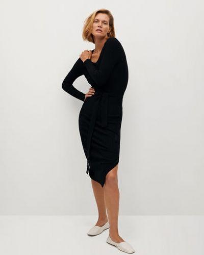 Вязаное трикотажное черное платье макси Mango