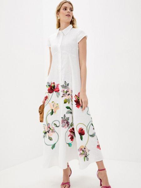 Белое повседневное платье Yukostyle