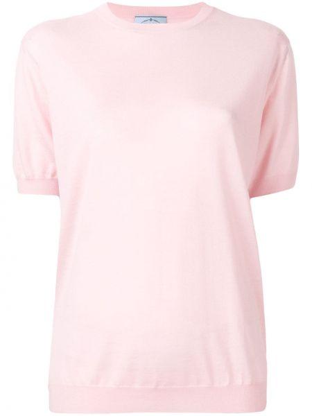 Шерстяной розовый короткий свитер в рубчик Prada