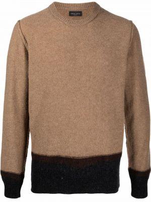 Sweter wełniany - brązowy Roberto Collina