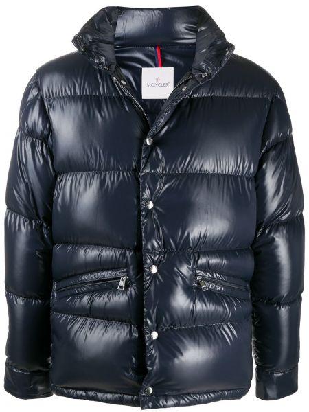 Puchaty niebieski długa kurtka z kieszeniami z długimi rękawami Moncler