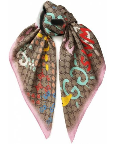 Бежевый платок из шелка Gucci