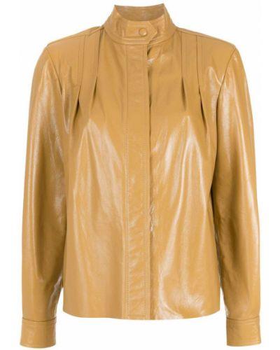 Кожаная куртка с воротником с потайной застежкой НК