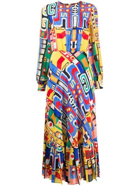 Шелковое плиссированное платье миди на пуговицах с рисунком Stella Jean