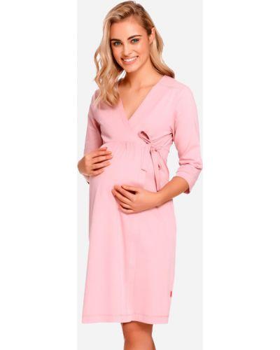 Мягкий розовый халат для беременных Dobranocka