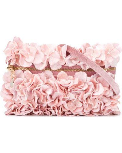 Золотистый розовый клатч с карманами на молнии Monnalisa