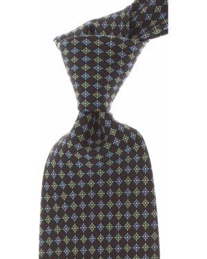 Czarny krawat z jedwabiu Marinella