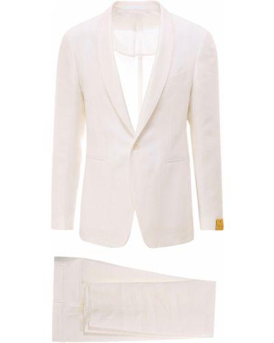 Biały garnitur ze spodniami z długimi rękawami zapinane na guziki Tagliatore