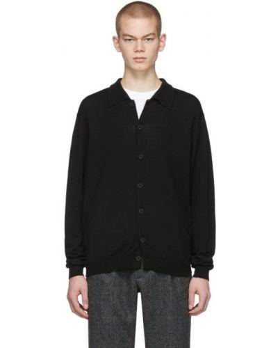 С рукавами шерстяной черный кардиган с манжетами Second/layer