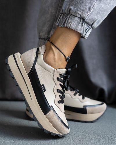 Кожаные кроссовки - бежевые Olli