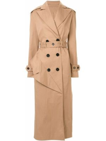 С рукавами коричневое пальто классическое с поясом с лацканами Ruban
