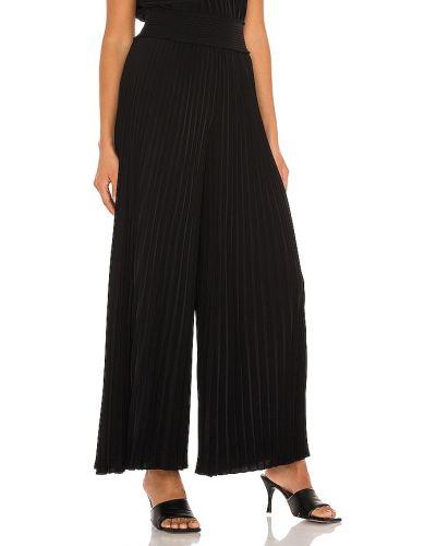 Włókienniczy czarny spodnie palazzo w połowie kolana elastyczny A.l.c.