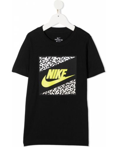 Прямая с рукавами черная футболка Nike Kids