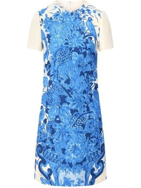 Синее шелковое платье с подкладкой Valentino