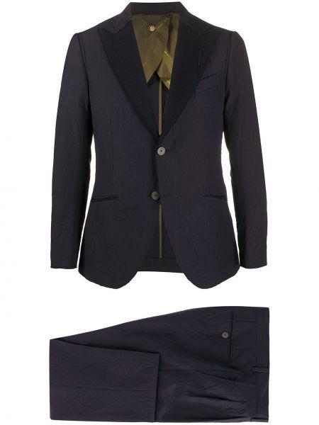 Шерстяной темно-синий костюмный костюм на пуговицах Maurizio Miri