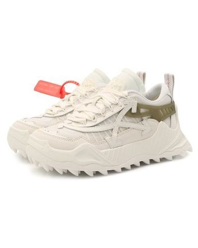 Кожаные белые кроссовки с подкладкой Off-white