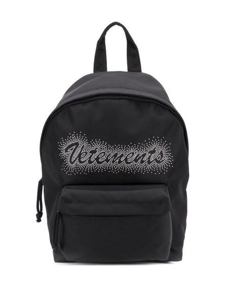 Czarny plecak z printem Vetements