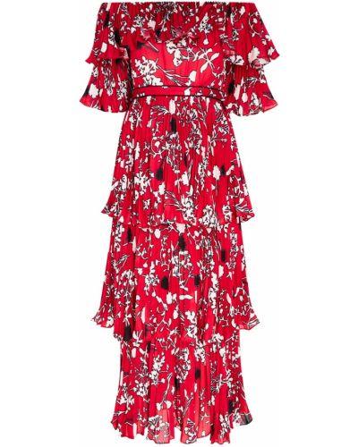 Платье миди с цветочным принтом плиссированное Self-portrait