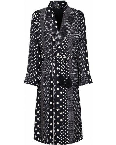 Шелковое черное платье макси в горошек Dolce & Gabbana