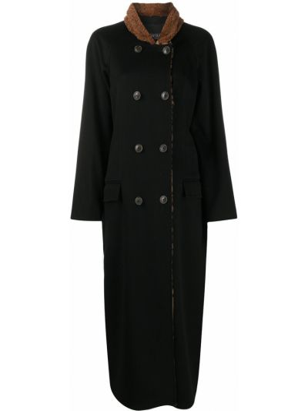 Шерстяное черное длинное пальто с мехом Simonetta Ravizza