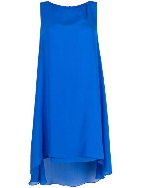 Шелковая синяя юбка миди на пуговицах Antonelli