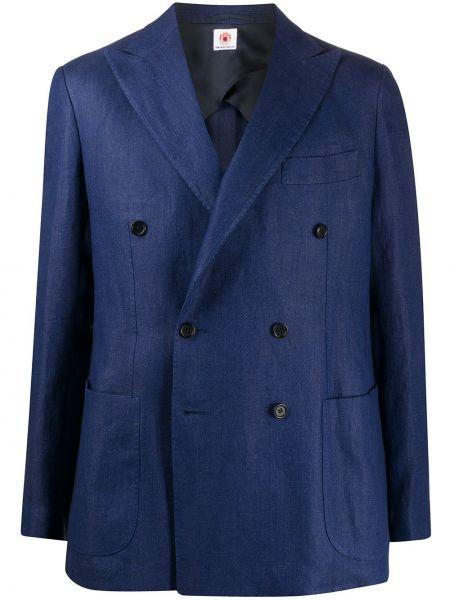 С рукавами синий пиджак двубортный Borrelli