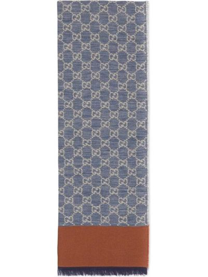 Niebieski etola bawełniany Gucci
