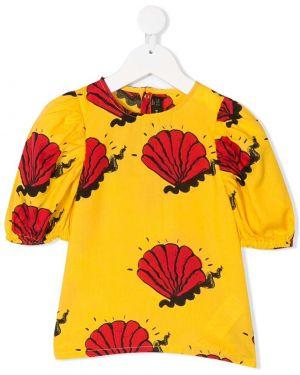 Хлопковая желтая блузка с короткими рукавами Mini Rodini