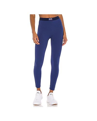 Спортивные синие нейлоновые брюки на резинке эластичные Adam Selman Sport
