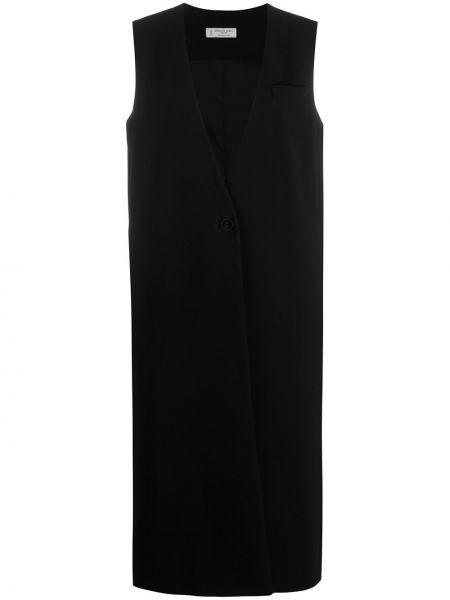 Черное пальто без рукавов с V-образным вырезом Alberto Biani