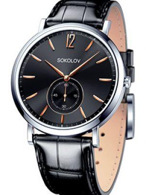 Кварцевые часы с черным циферблатом стрелочные Sokolov